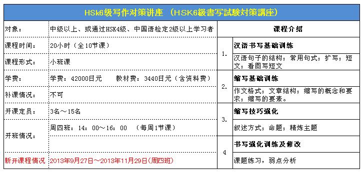 HSK6級書写対策講座詳細